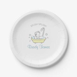 Boy Bubble Bath Baby Shower Paper Plate