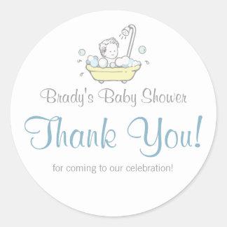 Boy Bubble Bath Baby Shower Thank You Stickers