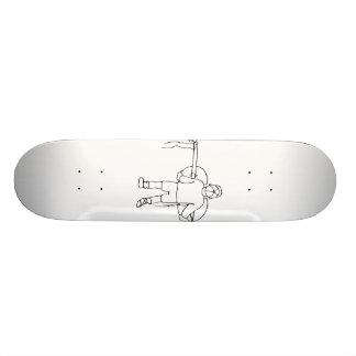 Boy Carrying Broken Upright Bass Back View Custom Skate Board