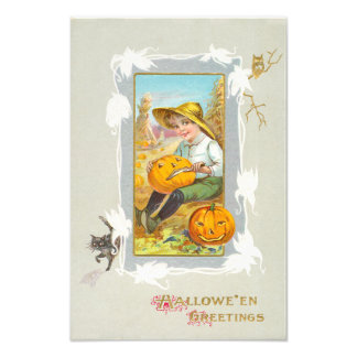 Boy Carving Jack O Lantern Pumpkin Black Cat Owl Photo Print