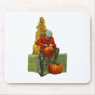 boy carving pumpkin mousepad