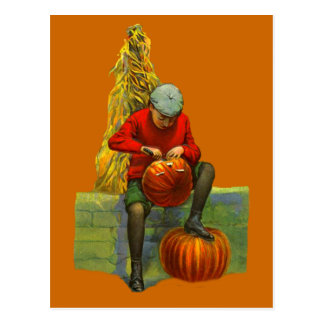 boy carving pumpkin postcards