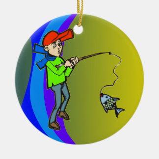 Boy Catching A Fish Ceramic Ornament