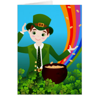 Boy celebrates Saint Patrick Day Card