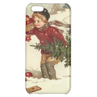 Boy Christmas Tree Presents Cottage Snow iPhone 5C Cover