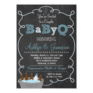 Boy Couples BabyQ BBQ Baby Shower Invitation