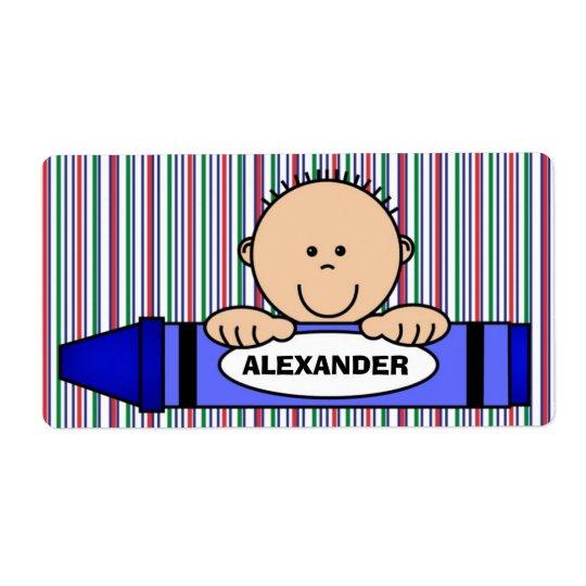 Boy Crayon School Supply Label Shipping Label