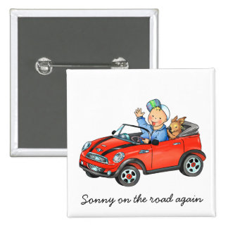 Boy Driving Red Toy Car Square Button