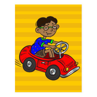Boy Driving Toy Car Postcard