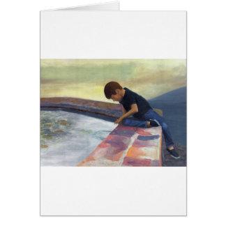 Boy Dropping Pebbles Card