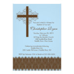 Boy Elegant Lace  Baptism | Christening Cross Custom Announcement