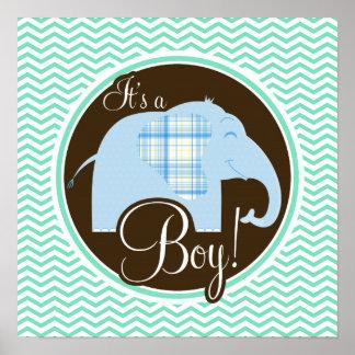 Boy Elephant Aqua Green Chevron Poster