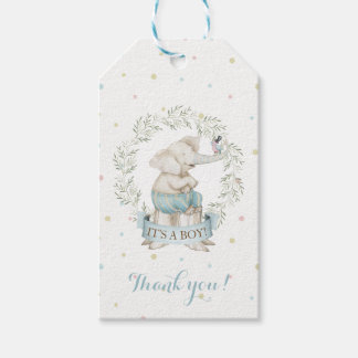 Boy Elephant Baby Shower Blue Green Beige Gift Tags