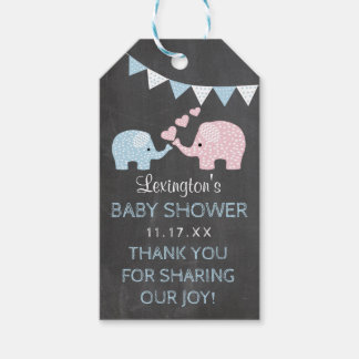 Boy Elephant Baby Shower Chalk Look Thank You Gift Tags