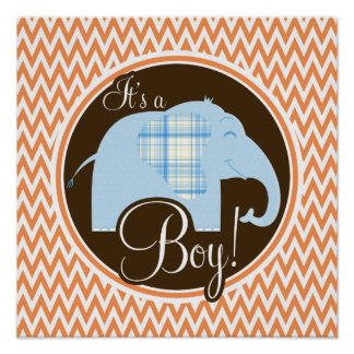 Boy Elephant Baby Shower Orange and White Chevron Posters