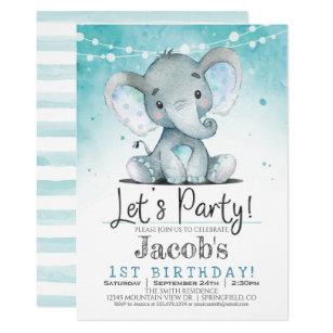 Boys Elephant Birthday Invitations Announcements