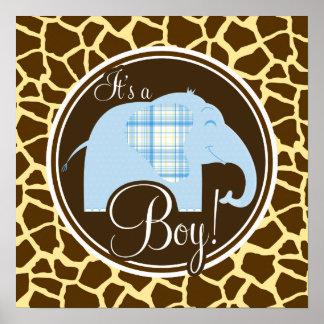 Boy Elephant Brown Giraffe Animal Print
