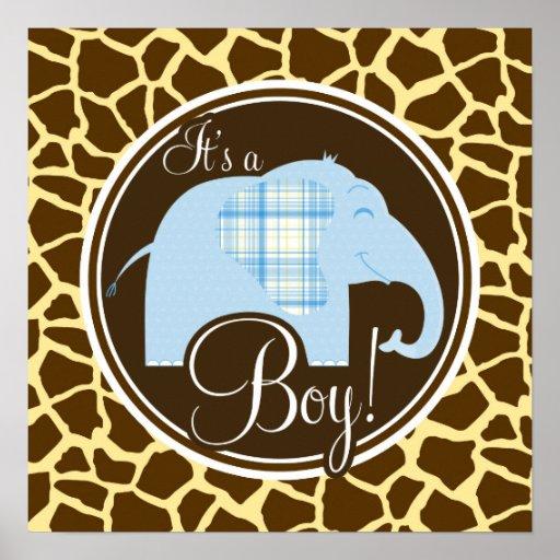 Boy Elephant; Brown Giraffe Animal Print