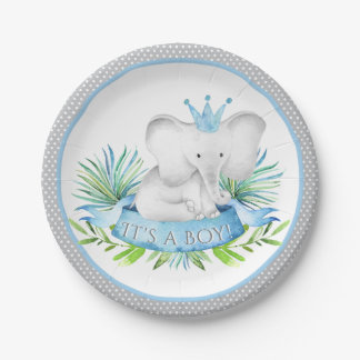 Boy Elephant Prince Baby Shower Paper Plates