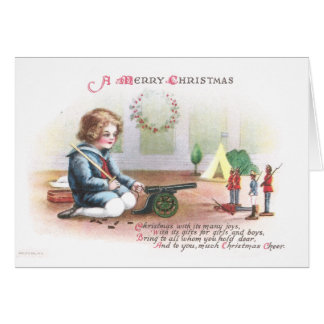 Boy Firing Cannon at Toy Soldiers at Christmas Card