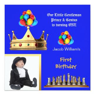 "Boy First Birthday 1st Gentleman Prince Genius 5.25"" Square Invitation Card"