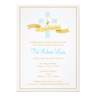 Boy First Communion Invitation - Blue