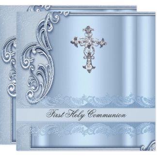 Boy First Holy Communion Blue Confirmation Card