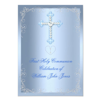 "Boy First Holy Communion Silver Blue 5"" X 7"" Invitation Card"