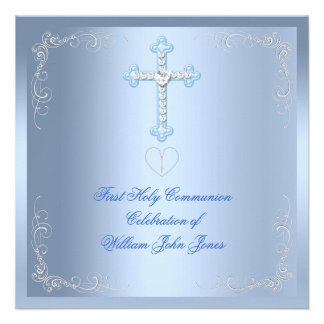 Boy First Holy Communion Silver Blue Invite