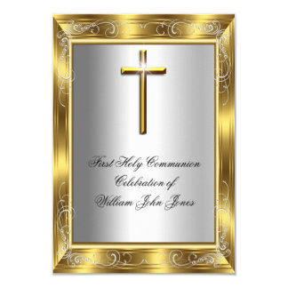 "Boy First Holy Communion Silver Gold Cross 2 3.5"" X 5"" Invitation Card"