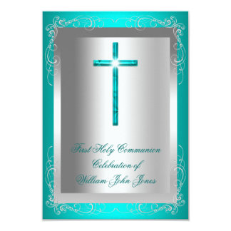 Boy First Holy Communion Silver Jade Teal Invite