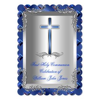 "Boy First Holy Communion Silver Royal Blue 2TS 5"" X 7"" Invitation Card"