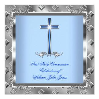 Boy First Holy Communion Silver Royal Blue 5 Card