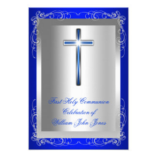 Boy First Holy Communion Silver Royal Blue Personalized Invites
