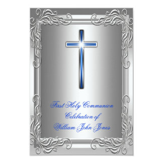 Boy First Holy Communion Silver Royal Blue Announcement