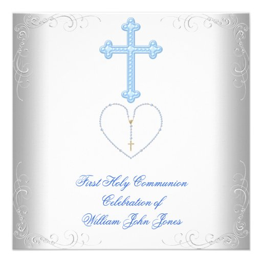 Boy First Holy Communion White Blue Personalized Invitation