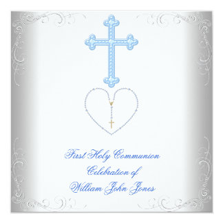 "Boy First Holy Communion White Blue 5.25"" Square Invitation Card"