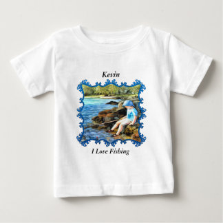 Boy fishing in the river. baby T-Shirt