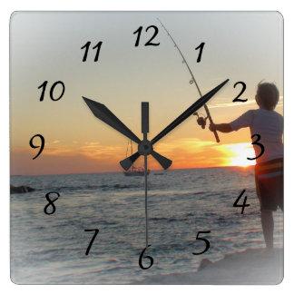 Boy Fishing off Ocean Pier Clock