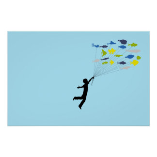 Boy Floating Away Holding Tropical Fish Balloons Poster
