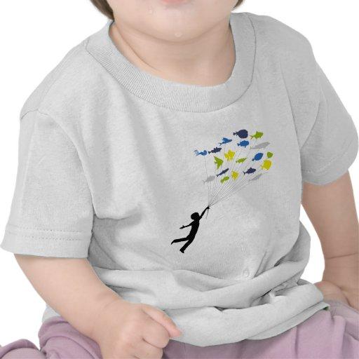 Boy Floating on Tropical Fish Balloons T-shirt