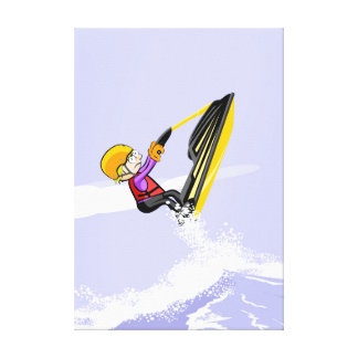 Boy flying by the air in its jet ski canvas print