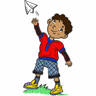 Boy Flying Paper Airplane Photo Cutouts