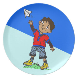 Boy Flying Paper Airplane Plate