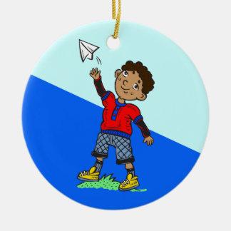 Boy Flying Paper Airplane Round Ceramic Ornament