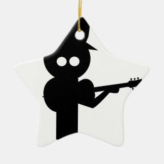 Boy Folk Singer Ceramic Ornament