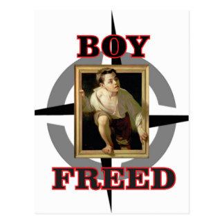 boy freed art fun postcard