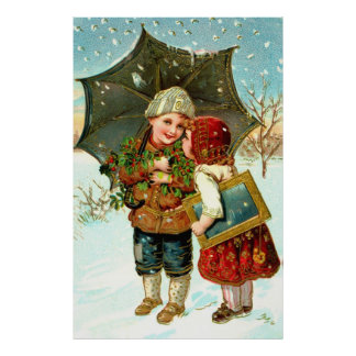 Boy, girl and umbrella poster