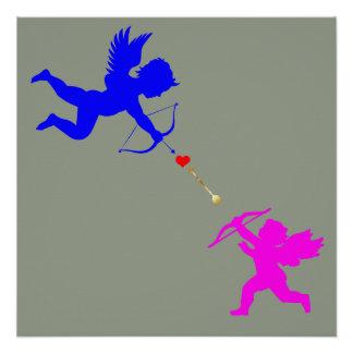 Boy& Girl Angels Arrow Red Heart Poster