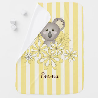 Boy | Girl Baby Cute Animal Name Yellow Striped Receiving Blankets